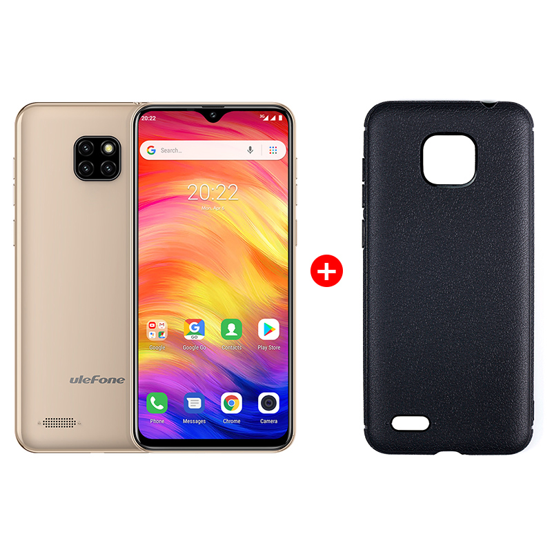 "UleFone NOTE 7 6,1"" Gold Android 8, triple camera, 16GB, pouzdro, 3500mAh"
